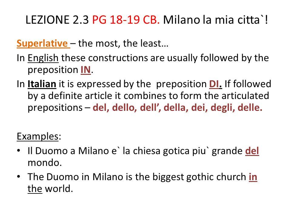 LEZIONE 2.3 PG 18-19 CB.Milano la mia citta`.