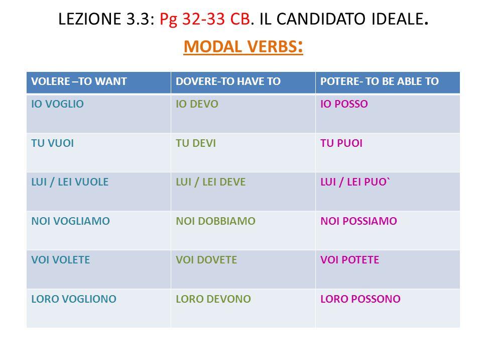 LEZIONE 3.3: Pg 32-33 CB.IL CANDIDATO IDEALE.
