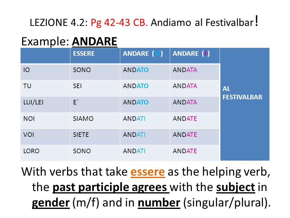 LEZIONE 4.2: Pg 42-43 CB.Andiamo al Festivalbar .