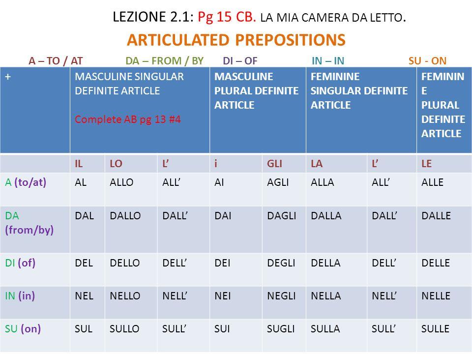 LEZIONE 2.1: Pg 15 CB.LA MIA CAMERA DA LETTO.