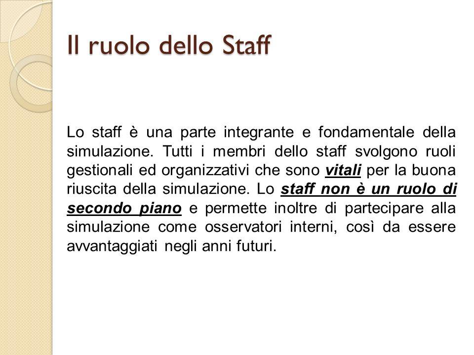 Il ruolo dello Staff Lo staff è una parte integrante e fondamentale della simulazione.