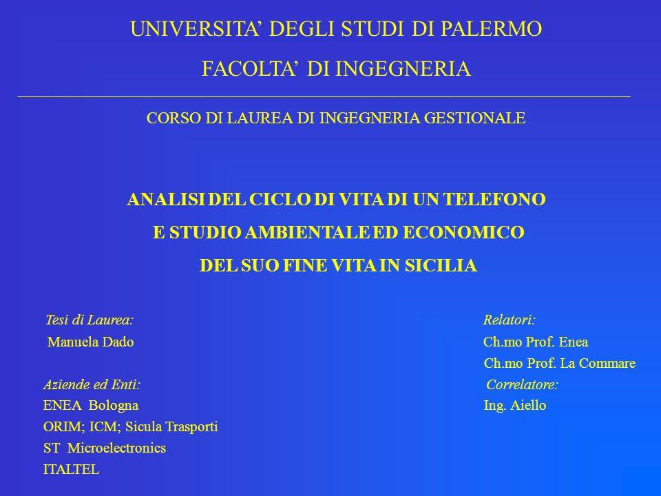 TELEFONO SIRIO 2000 OBIETTIVO: determinare il danno ambientale dovuto alla produzione, alluso e al fine vita del telefono