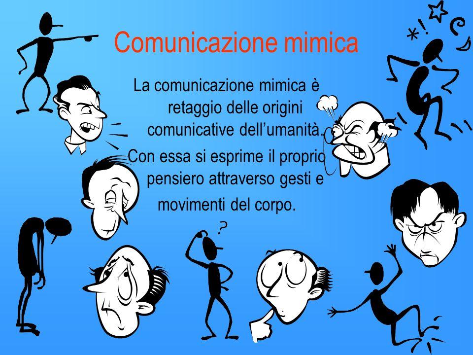 La comunicazione può essere: sonora visiva mimica