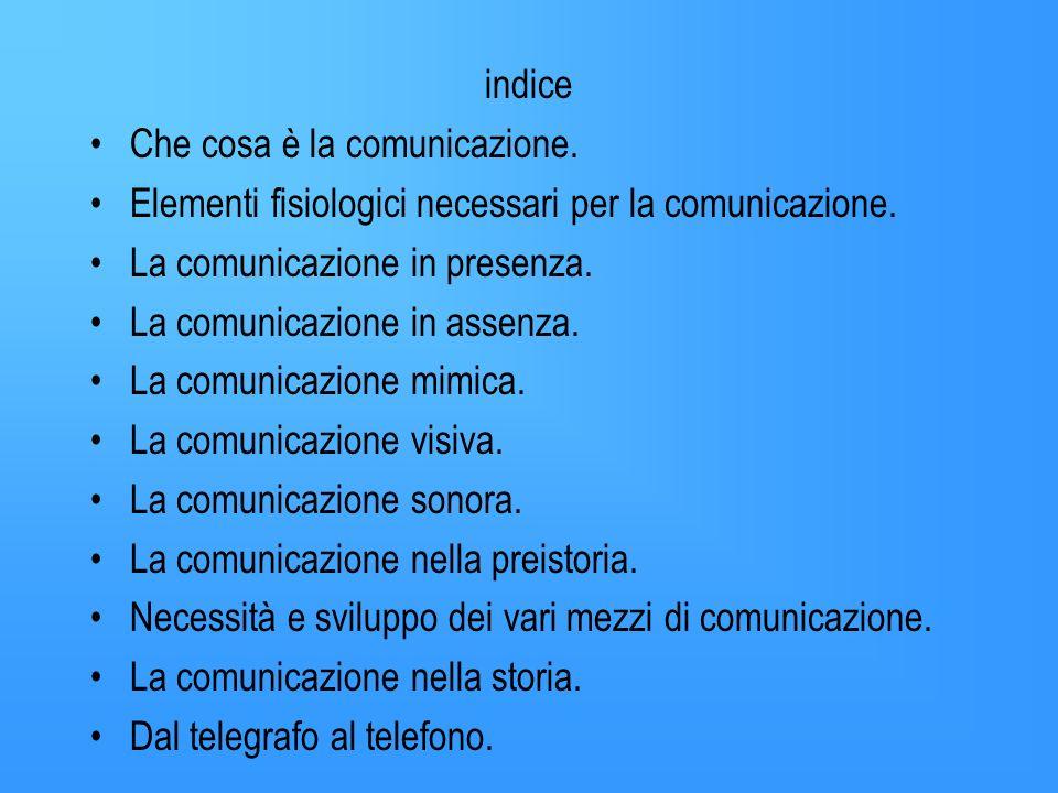 indice Che cosa è la comunicazione.Elementi fisiologici necessari per la comunicazione.