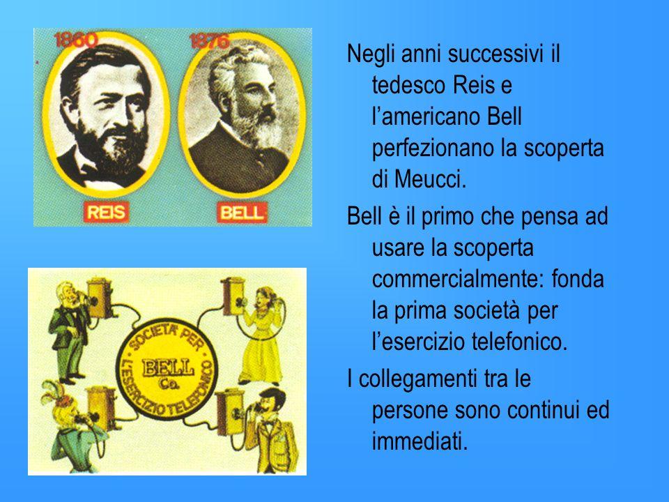Intanto nel 1849 litaliano Antonio Meucci sfruttando il principio della trasformazione delle vibrazioni sonore in impulsi elettrici, trasmessi via fil
