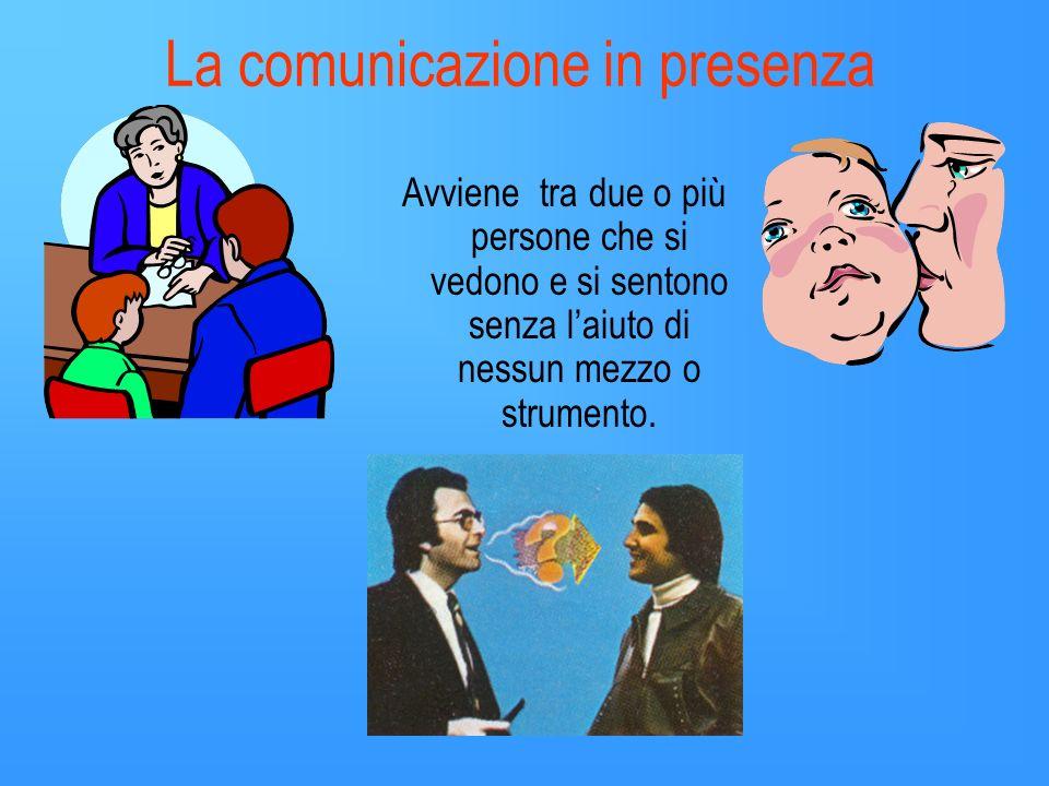 La comunicazione in presenza Avviene tra due o più persone che si vedono e si sentono senza laiuto di nessun mezzo o strumento.