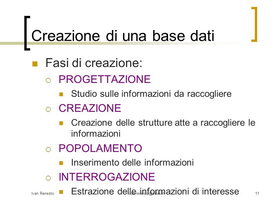 Ivan Renestoivan.renesto@edes.it11 Creazione di una base dati Fasi di creazione: PROGETTAZIONE Studio sulle informazioni da raccogliere CREAZIONE Crea