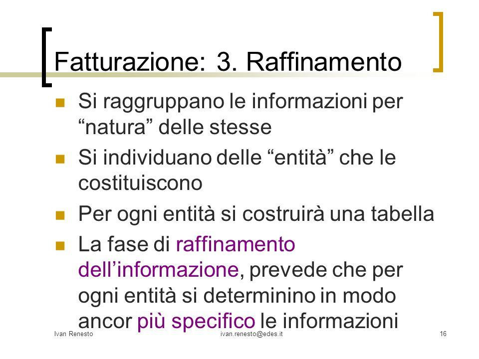 Ivan Renestoivan.renesto@edes.it16 Fatturazione: 3. Raffinamento Si raggruppano le informazioni per natura delle stesse Si individuano delle entità ch