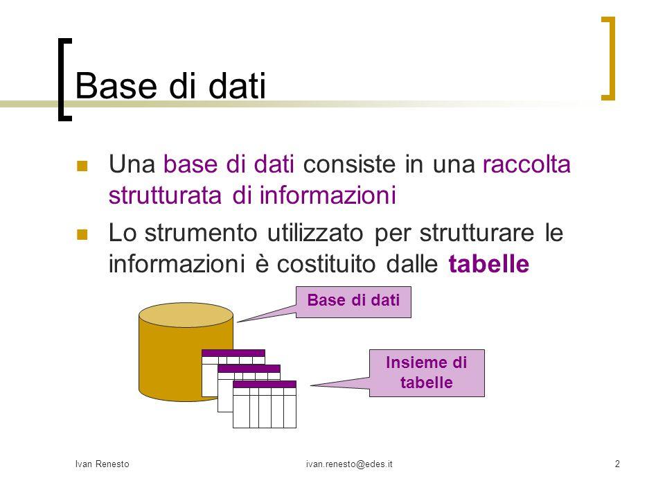 Ivan Renestoivan.renesto@edes.it3 Tabelle Le tabelle in Microsoft Access si comporranno da: un nome campi (colonne) record (righe) C1 C2C3 C4C5 T Nome della tabella Colonne della tabella Righe della tabella