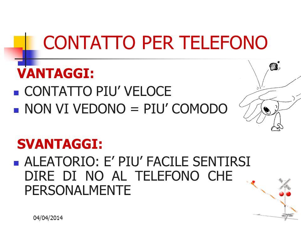 04/04/201410 CONTATTO PER TELEFONO VANTAGGI: CONTATTO PIU VELOCE NON VI VEDONO = PIU COMODO SVANTAGGI: ALEATORIO: E PIU FACILE SENTIRSI DIRE DI NO AL