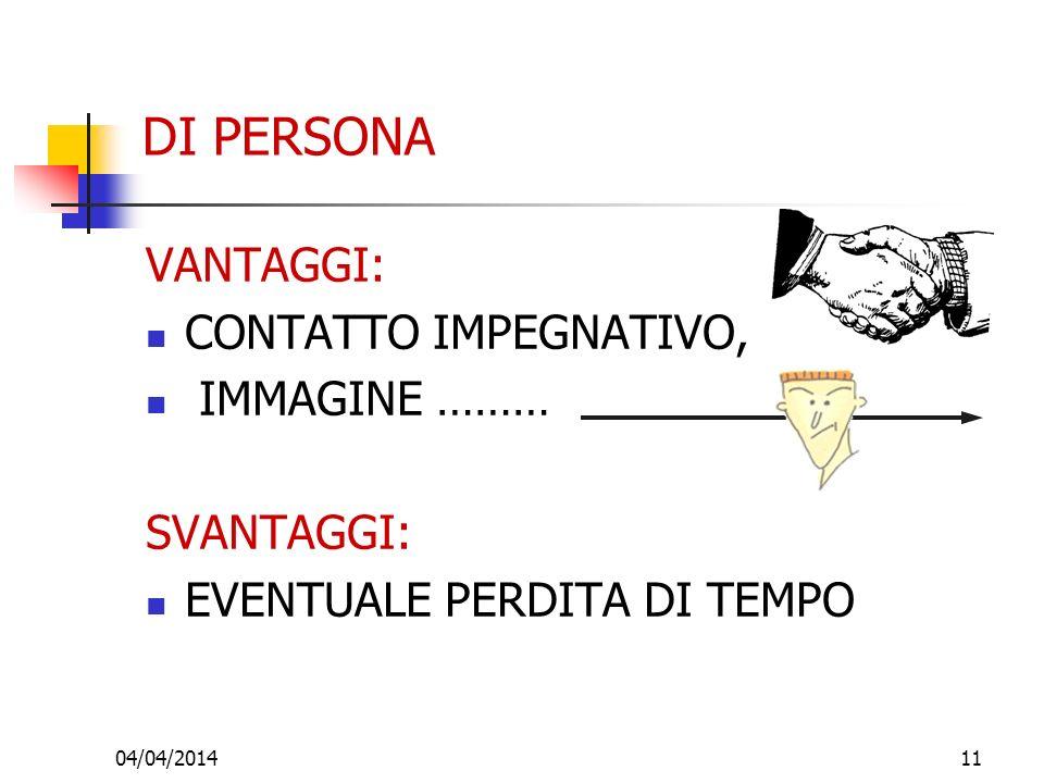 04/04/201411 DI PERSONA VANTAGGI: CONTATTO IMPEGNATIVO, IMMAGINE ……… SVANTAGGI: EVENTUALE PERDITA DI TEMPO