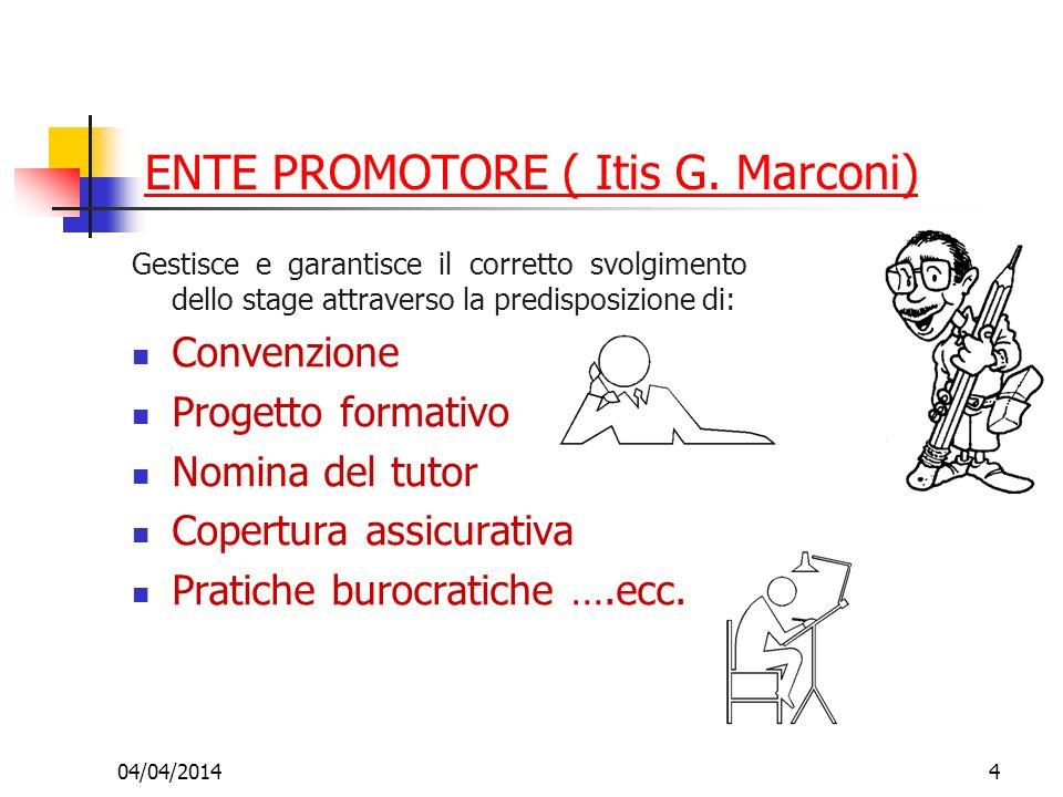 04/04/20144 ENTE PROMOTORE ( Itis G. Marconi) Gestisce e garantisce il corretto svolgimento dello stage attraverso la predisposizione di: Convenzione