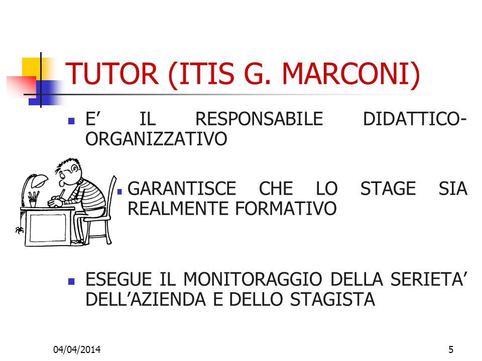 04/04/20145 TUTOR (ITIS G. MARCONI) E IL RESPONSABILE DIDATTICO- ORGANIZZATIVO GARANTISCE CHE LO STAGE SIA REALMENTE FORMATIVO ESEGUE IL MONITORAGGIO