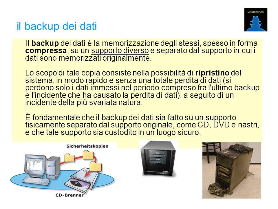 il backup dei dati Il backup dei dati è la memorizzazione degli stessi, spesso in forma compressa, su un supporto diverso e separato dal supporto in cui i dati sono memorizzati originalmente.