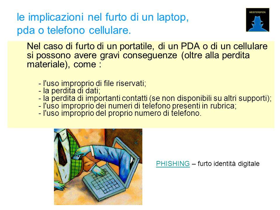 le implicazioni nel furto di un laptop, pda o telefono cellulare.