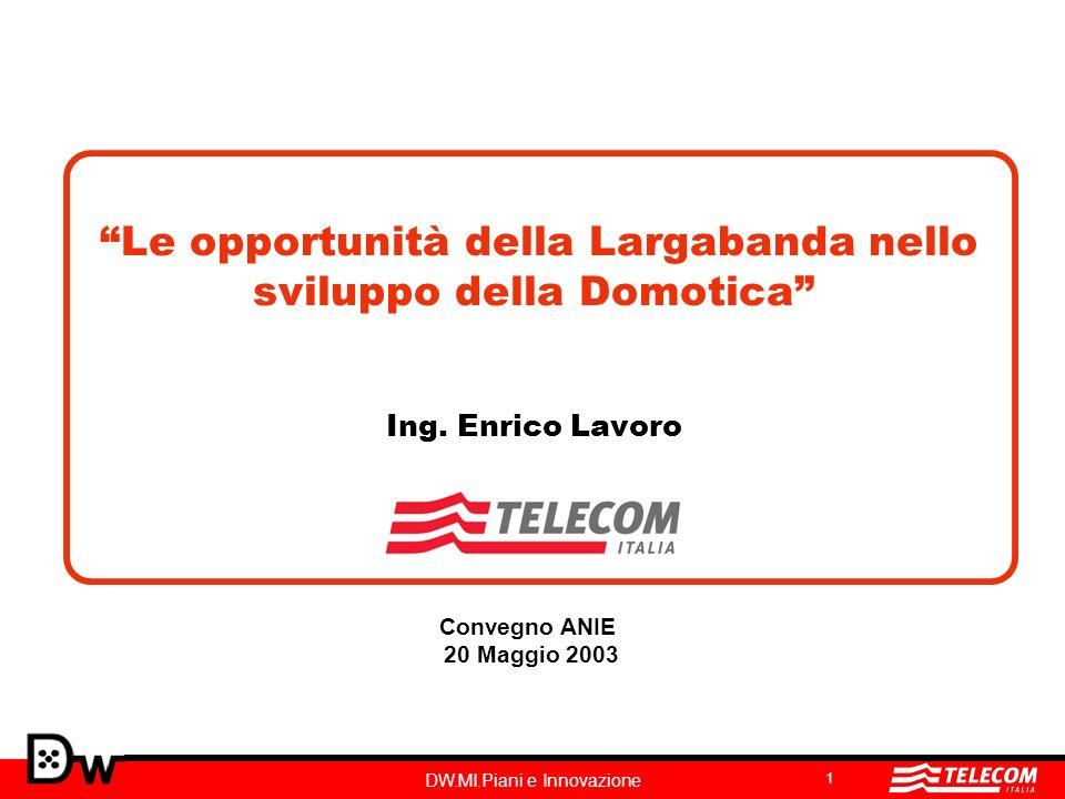 DW.MI.Piani e Innovazione 2 In un mercato altamente competitivo Telecom Italia è leader nella diffusione della Largabanda … 13 Dec 01Dec 02 Dec 02/01 Mar 02Jun 02Sep 02 # access Totale 390,000 +118% 850,000518,000585,000650,000 Penetrazione su Internet users 13%22% Incrementi netti per quarter 200,000128,00067,000132,000 Incrementi netti settimanali 15,400 9,900 5,2005,000