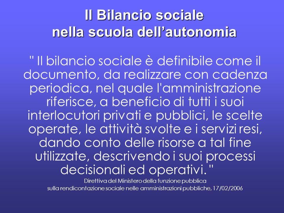 Il Bilancio sociale nella scuola dellautonomia