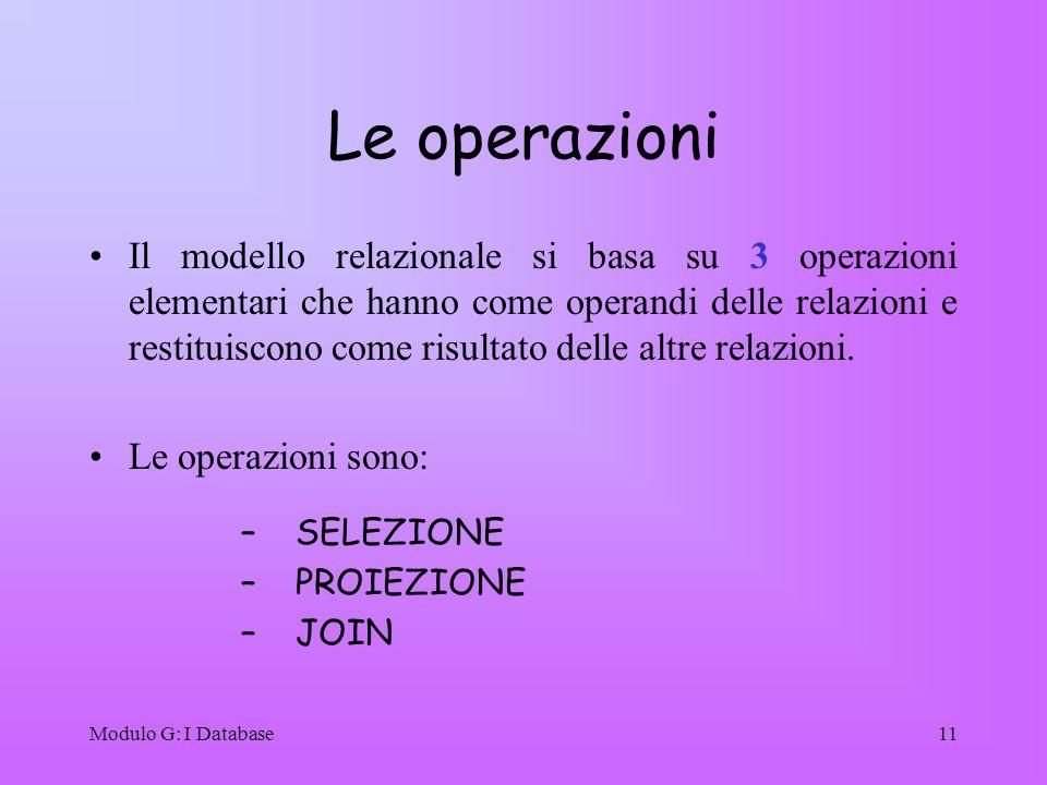 Modulo G: I Database11 Le operazioni Il modello relazionale si basa su 3 operazioni elementari che hanno come operandi delle relazioni e restituiscono