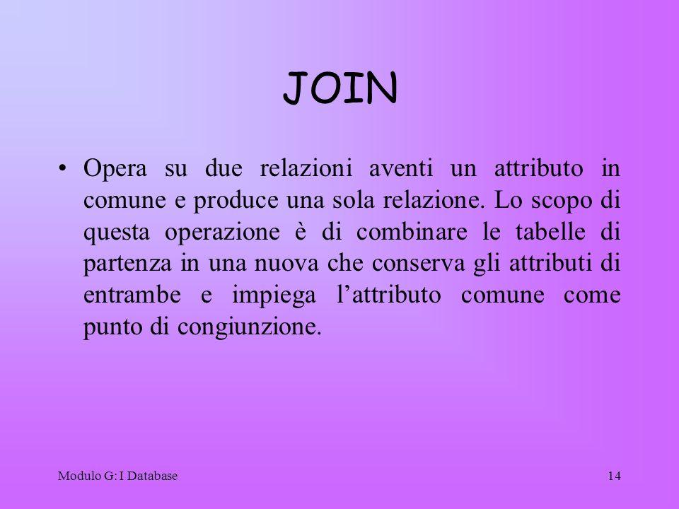 Modulo G: I Database14 JOIN Opera su due relazioni aventi un attributo in comune e produce una sola relazione. Lo scopo di questa operazione è di comb