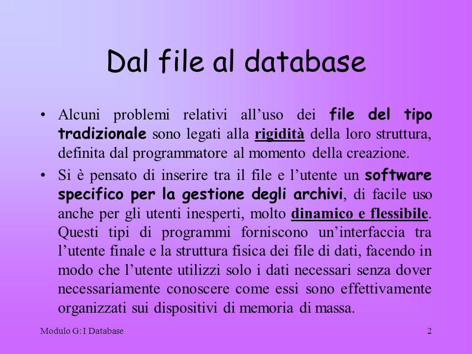 Modulo G: I Database2 Dal file al database Alcuni problemi relativi alluso dei file del tipo tradizionale sono legati alla rigidità della loro struttu