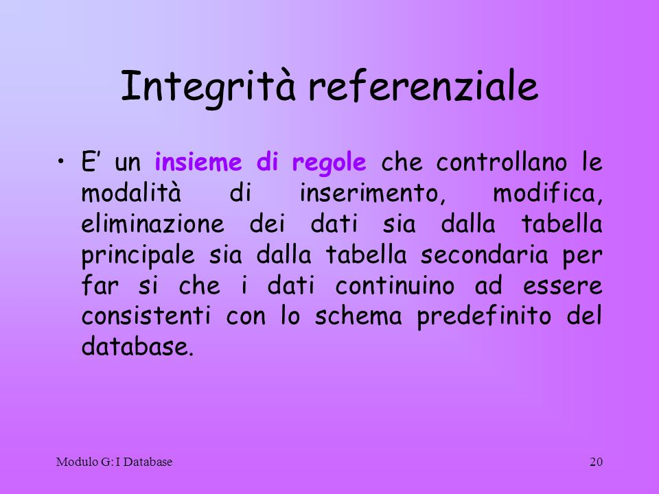 Modulo G: I Database20 Integrità referenziale E un insieme di regole che controllano le modalità di inserimento, modifica, eliminazione dei dati sia d