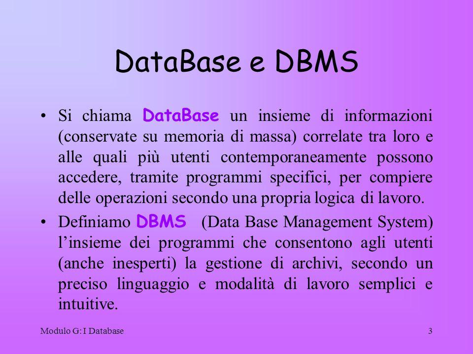 Modulo G: I Database3 DataBase e DBMS Si chiama DataBase un insieme di informazioni (conservate su memoria di massa) correlate tra loro e alle quali p