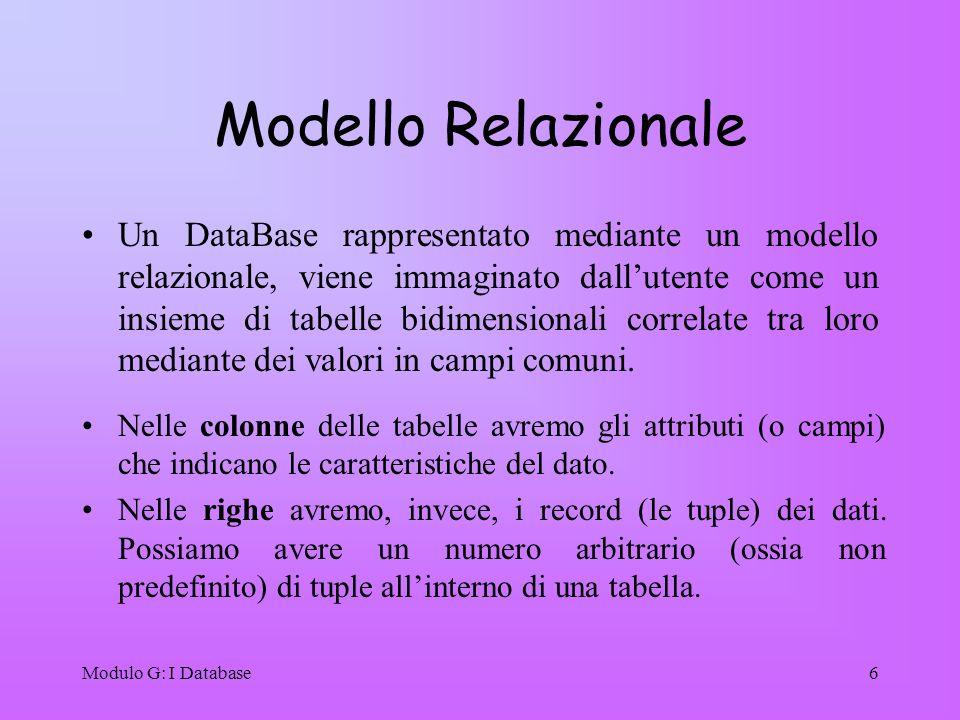 Modulo G: I Database6 Modello Relazionale Un DataBase rappresentato mediante un modello relazionale, viene immaginato dallutente come un insieme di ta