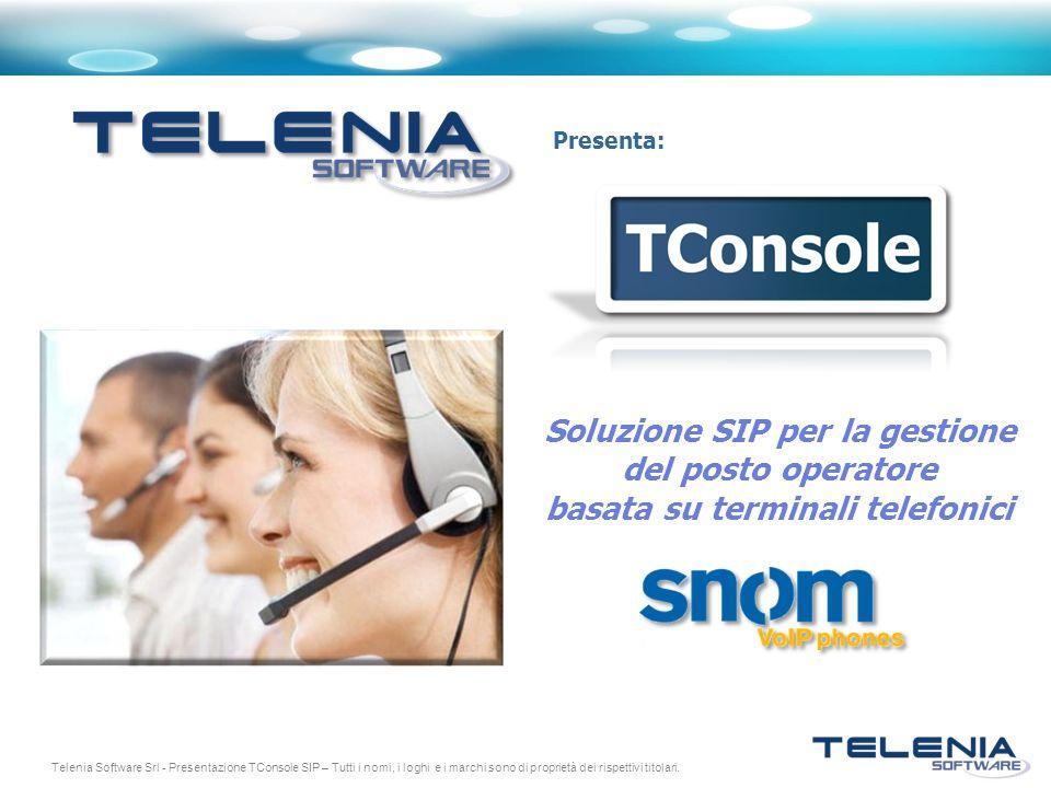 Telenia Software Srl - Presentazione TConsole SIP – Tutti i nomi, i loghi e i marchi sono di proprietà dei rispettivi titolari. Presenta: Soluzione SI