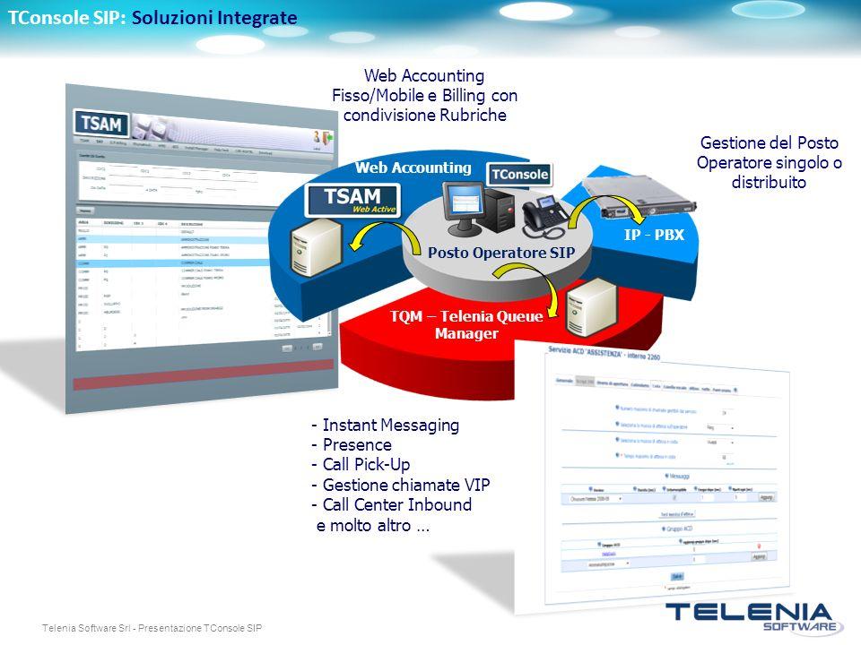 Telenia Software Srl - Presentazione TConsole SIP Web Accounting Fisso/Mobile e Billing con condivisione Rubriche Web Accounting Posto Operatore SIP T