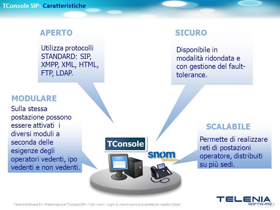 Telenia Software Srl - Presentazione TConsole SIP – Tutti i nomi, i loghi e i marchi sono di proprietà dei rispettivi titolari. SICURO Disponibile in
