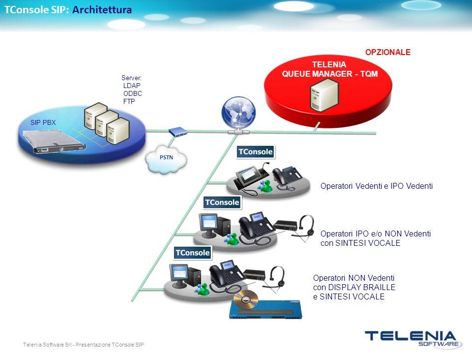 Telenia Software Srl - Presentazione TConsole SIP TConsole SIP: Architettura PSTN Server: LDAP ODBC FTP SIP PBX TELENIA QUEUE MANAGER - TQM Operatori