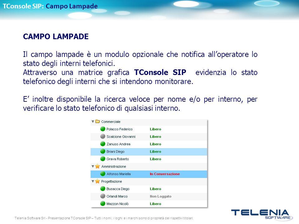 Telenia Software Srl - Presentazione TConsole SIP – Tutti i nomi, i loghi e i marchi sono di proprietà dei rispettivi titolari. CAMPO LAMPADE Il campo