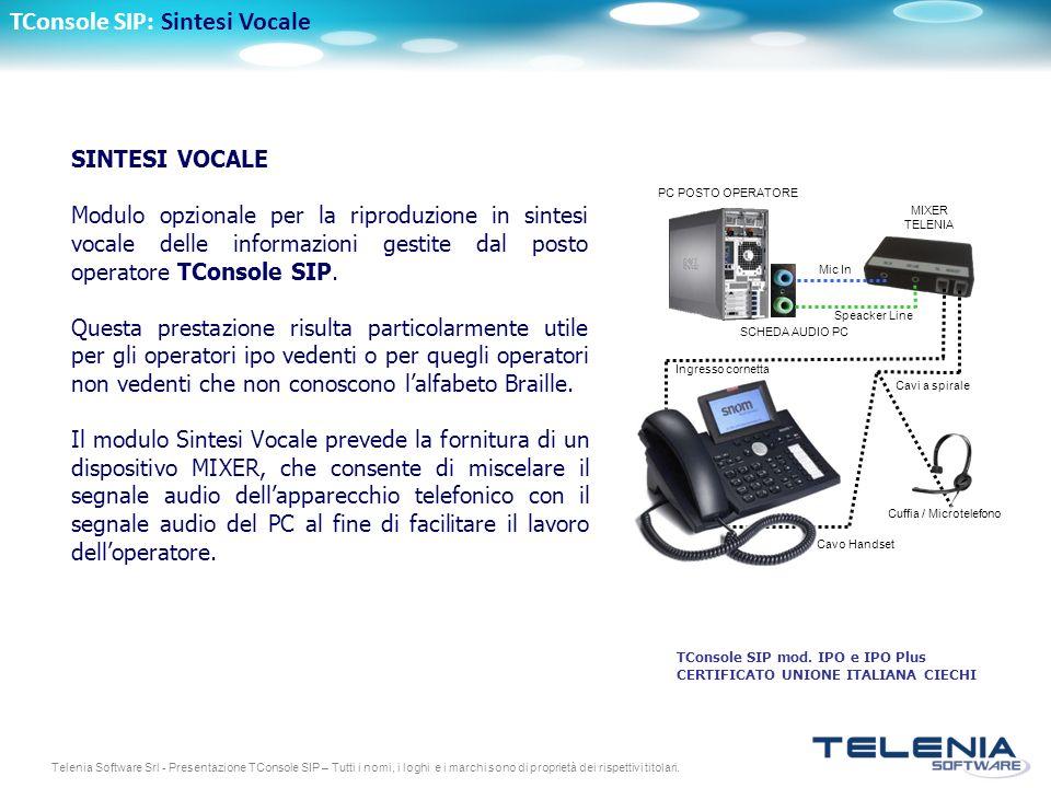 Telenia Software Srl - Presentazione TConsole SIP – Tutti i nomi, i loghi e i marchi sono di proprietà dei rispettivi titolari. TConsole SIP: Sintesi