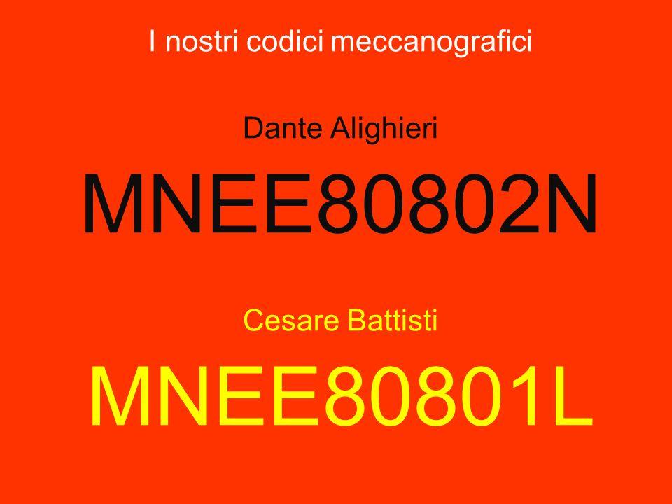 I nostri codici meccanografici Dante Alighieri MNEE80802N Cesare Battisti MNEE80801L