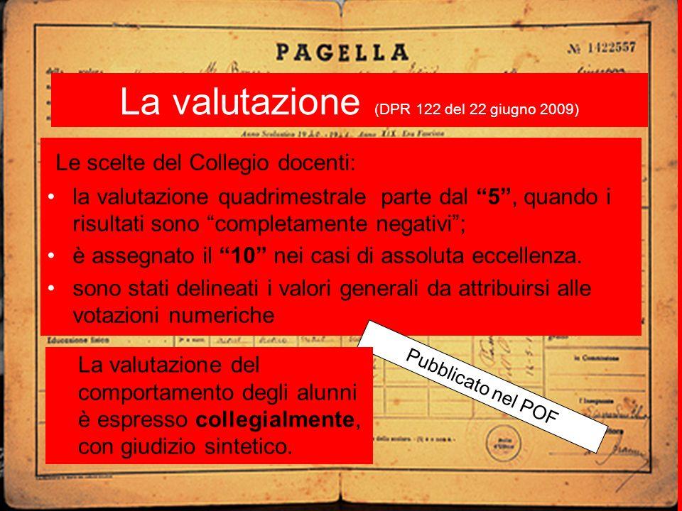 La valutazione (DPR 122 del 22 giugno 2009) Le scelte del Collegio docenti: la valutazione quadrimestrale parte dal 5, quando i risultati sono completamente negativi; è assegnato il 10 nei casi di assoluta eccellenza.