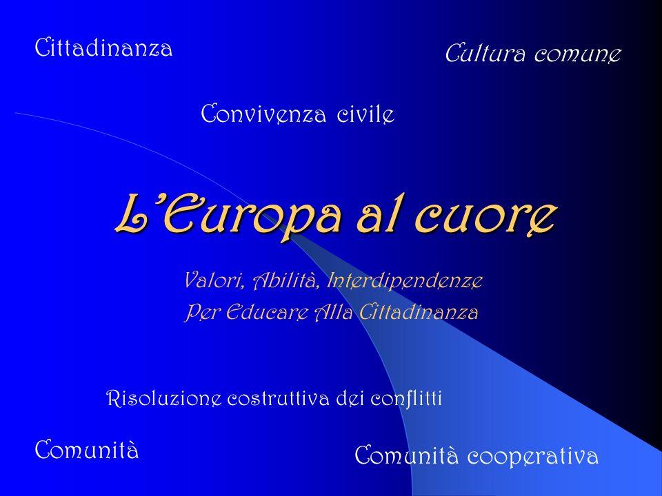 LEuropa al cuore Valori, Abilità, Interdipendenze Per Educare Alla Cittadinanza Convivenza civile Cittadinanza Comunità Cultura comune Comunità cooperativa Risoluzione costruttiva dei conflitti