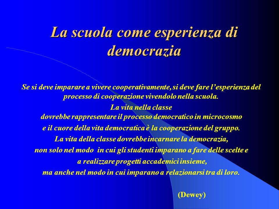 La scuola come esperienza di democrazia Se si deve imparare a vivere cooperativamente, si deve fare lesperienza del processo di cooperazione vivendolo nella scuola.