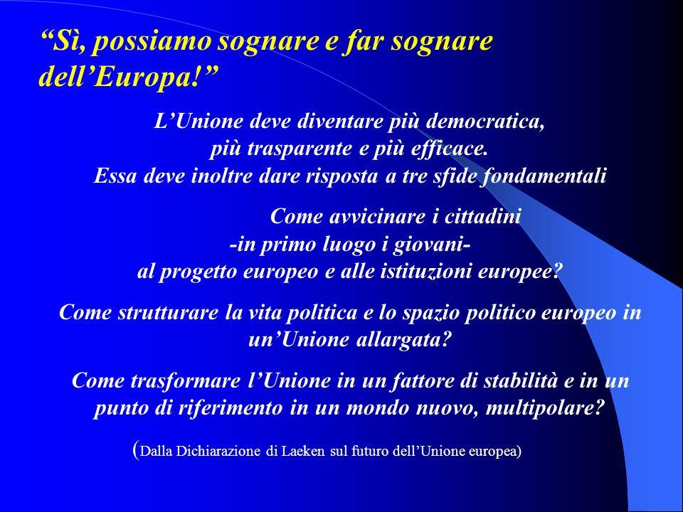 Sì, possiamo sognare e far sognare dellEuropa.