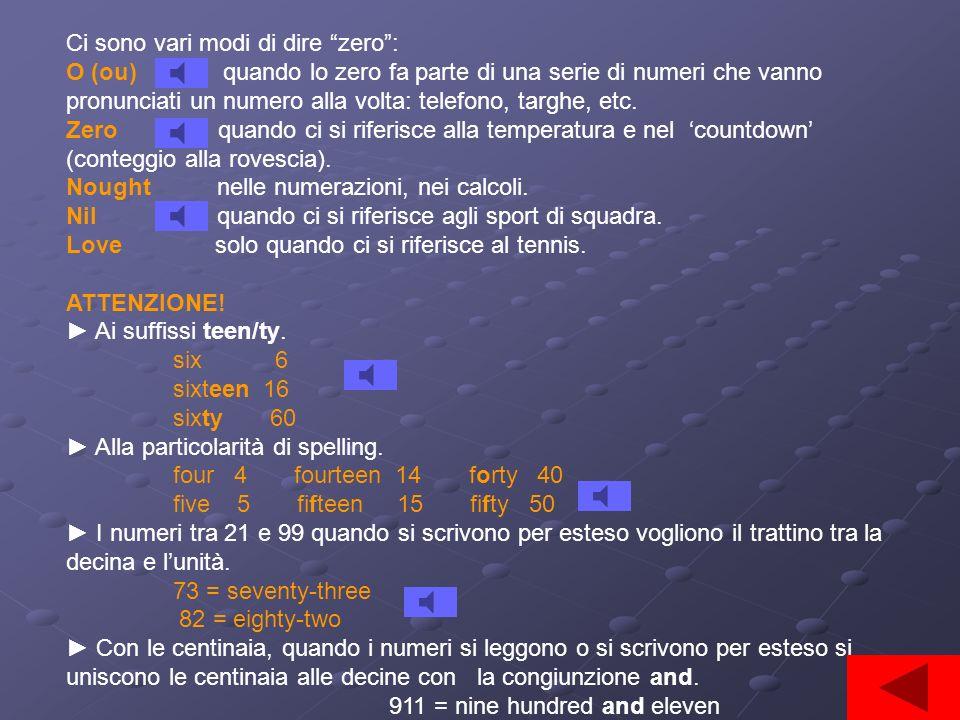 Ci sono vari modi di dire zero: O (ou) quando lo zero fa parte di una serie di numeri che vanno pronunciati un numero alla volta: telefono, targhe, etc.