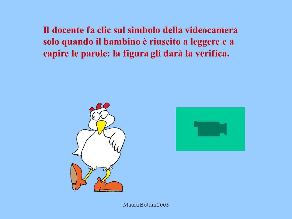 Maura Bottini 2005 Il docente fa clic sul simbolo della videocamera solo quando il bambino è riuscito a leggere e a capire le parole: la figura gli darà la verifica.