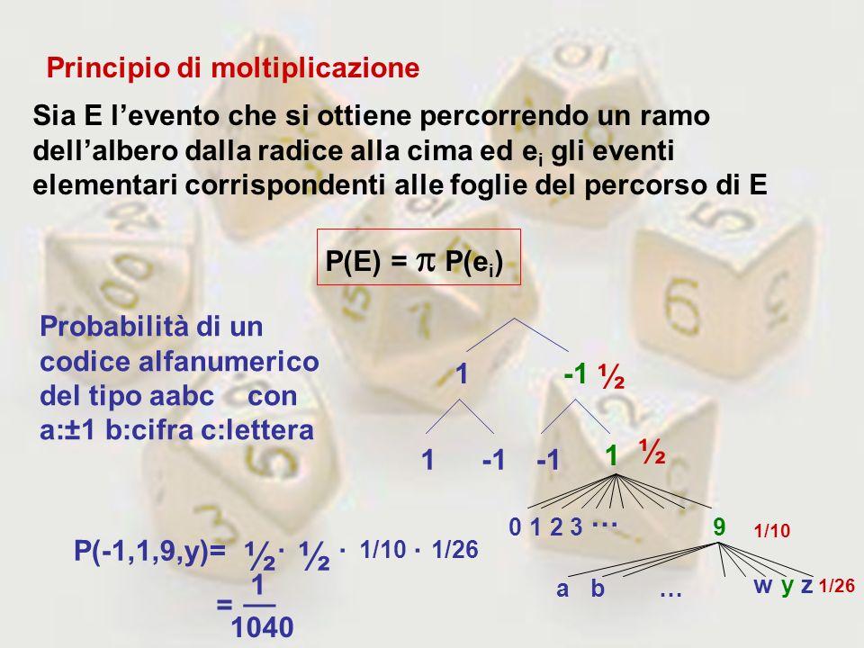 Principio di moltiplicazione Sia E levento che si ottiene percorrendo un ramo dellalbero dalla radice alla cima ed e i gli eventi elementari corrispon