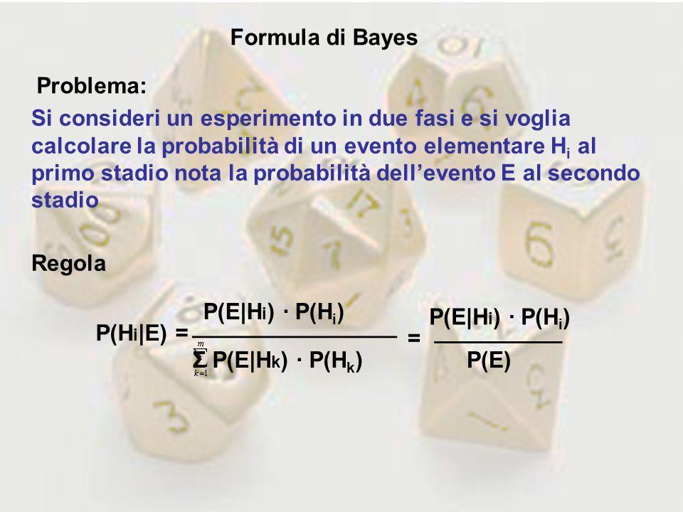 Formula di Bayes Problema: Si consideri un esperimento in due fasi e si voglia calcolare la probabilità di un evento elementare H i al primo stadio no