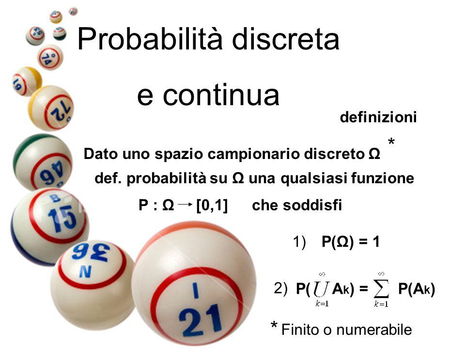 Probabilità discreta e continua definizioni Dato uno spazio campionario discreto Ω def. probabilità su Ω una qualsiasi funzione P : Ω [0,1]che soddisf