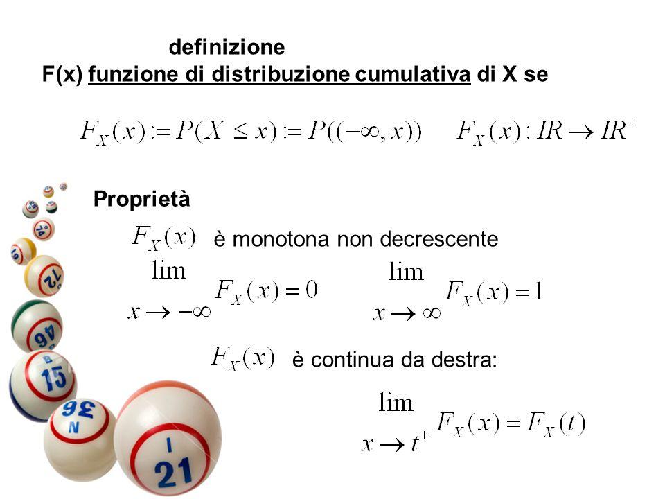 definizione F(x) funzione di distribuzione cumulativa di X se Proprietà è monotona non decrescente è continua da destra: