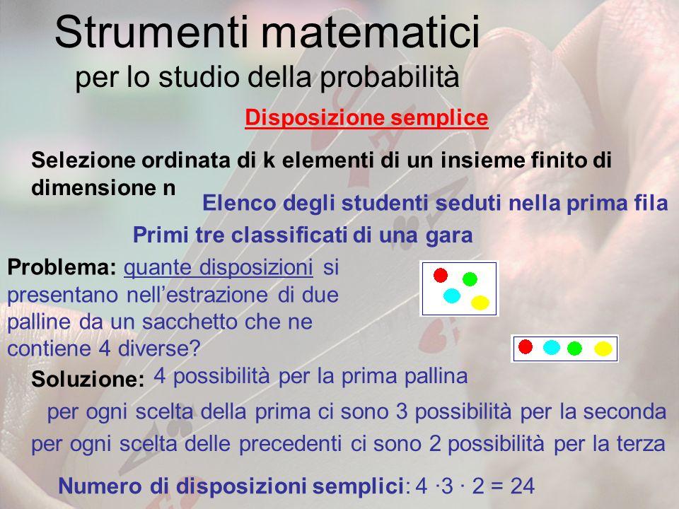Strumenti matematici per lo studio della probabilità Disposizione semplice Selezione ordinata di k elementi di un insieme finito di dimensione n Elenc