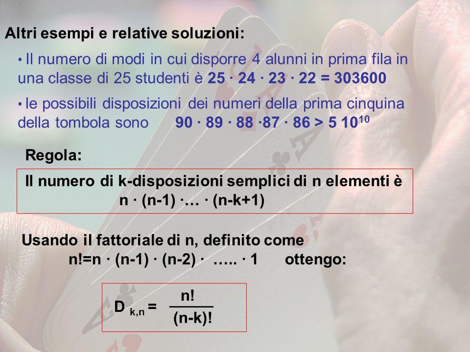 Regola: Altri esempi e relative soluzioni: Il numero di modi in cui disporre 4 alunni in prima fila in una classe di 25 studenti è 25 · 24 · 23 · 22 =