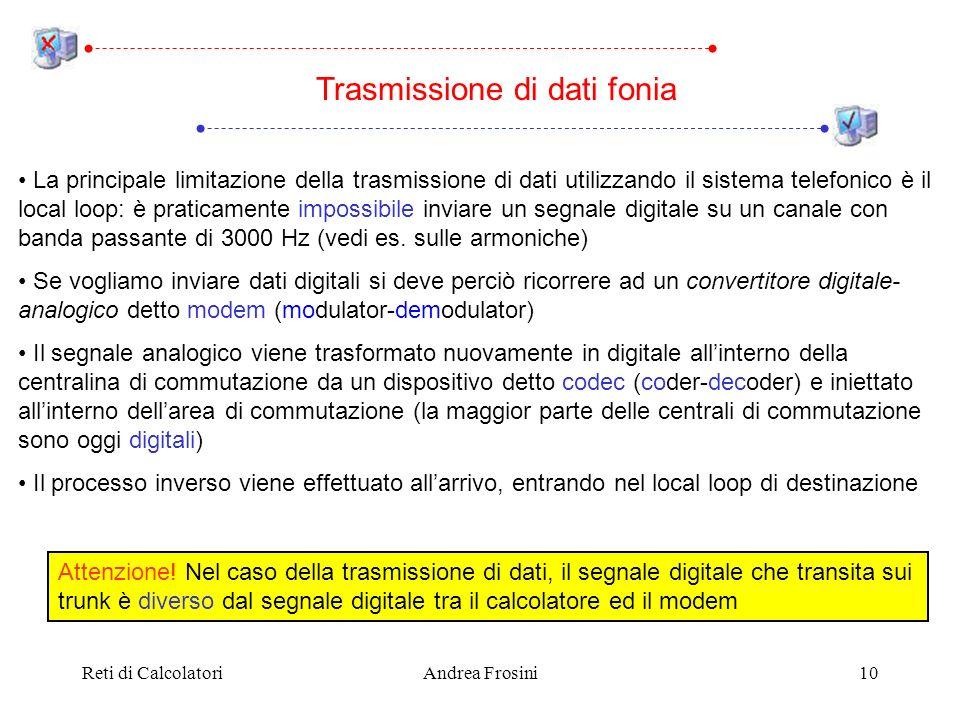 Reti di CalcolatoriAndrea Frosini10 La principale limitazione della trasmissione di dati utilizzando il sistema telefonico è il local loop: è praticam