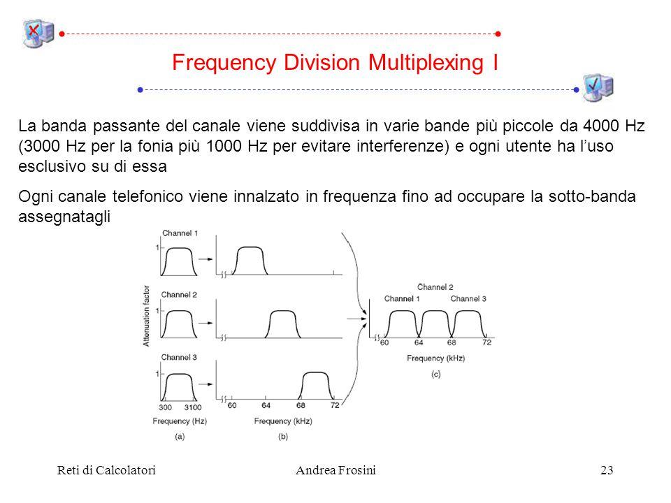 Reti di CalcolatoriAndrea Frosini23 La banda passante del canale viene suddivisa in varie bande più piccole da 4000 Hz (3000 Hz per la fonia più 1000