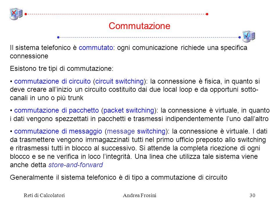 Reti di CalcolatoriAndrea Frosini30 Il sistema telefonico è commutato: ogni comunicazione richiede una specifica connessione Esistono tre tipi di comm