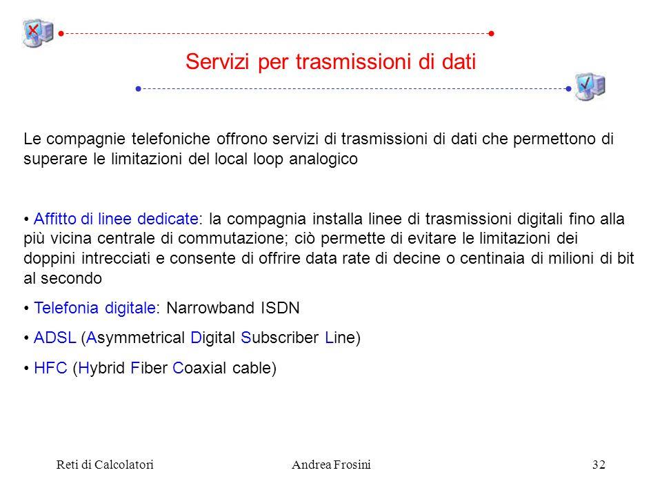 Reti di CalcolatoriAndrea Frosini32 Le compagnie telefoniche offrono servizi di trasmissioni di dati che permettono di superare le limitazioni del loc